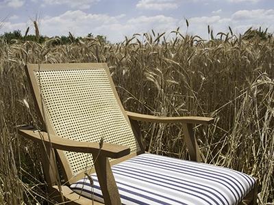 Chaise-longue Adriatica rivestita in Viareggio bianco/blu
